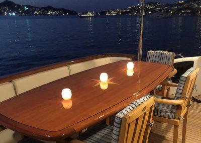 Aft deck table aboard Hilton Head Yacht Charter's Top Shelf