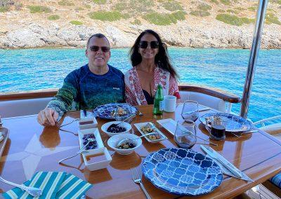 Hilton Head Yacht Charter Top Shelf's Aft Deck for Lunch