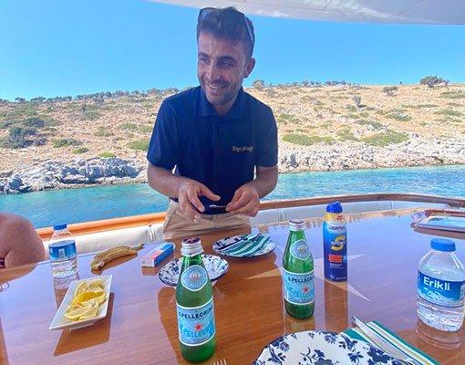 Hilton Head Yacht Charter's Crew serving a gourmet luncheon