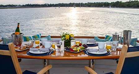Hilton Head Yacht Charter's Top Shelf aft deck